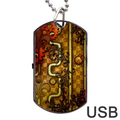 Noble Steampunk Design, Clocks And Gears With Floral Elements Dog Tag Usb Flash (one Side) by FantasyWorld7