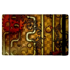 Noble Steampunk Design, Clocks And Gears With Floral Elements Apple Ipad 3/4 Flip Case by FantasyWorld7