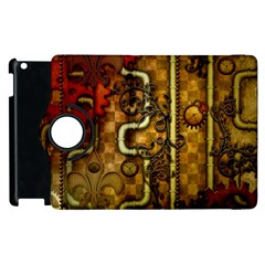 Noble Steampunk Design, Clocks And Gears With Floral Elements Apple Ipad 3/4 Flip 360 Case by FantasyWorld7