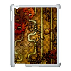 Noble Steampunk Design, Clocks And Gears With Floral Elements Apple Ipad 3/4 Case (white) by FantasyWorld7
