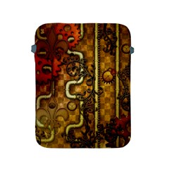 Noble Steampunk Design, Clocks And Gears With Floral Elements Apple Ipad 2/3/4 Protective Soft Cases by FantasyWorld7