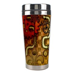 Noble Steampunk Design, Clocks And Gears With Floral Elements Stainless Steel Travel Tumblers by FantasyWorld7