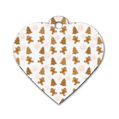 Ginger Cookies Christmas Pattern Dog Tag Heart (two Sides) by Valentinaart