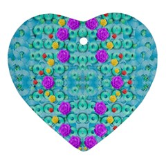 Season For Roses And Polka Dots Ornament (heart) by pepitasart