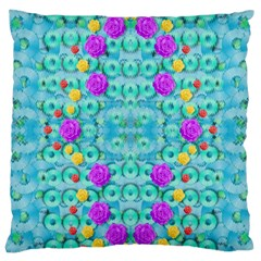 Season For Roses And Polka Dots Large Cushion Case (one Side) by pepitasart