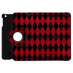 Diamond1 Black Marble & Red Leather Apple Ipad Mini Flip 360 Case by trendistuff