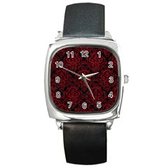 Damask1 Black Marble & Red Leather (r) Square Metal Watch by trendistuff