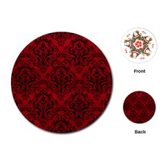 Damask1 Black Marble & Red Leather Playing Cards (round)  by trendistuff