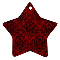 Damask1 Black Marble & Red Leather Star Ornament (two Sides) by trendistuff