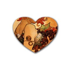 Alfons Mucha   Fruit Rubber Coaster (heart)  by 8fugoso