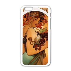 Alfons Mucha   Fruit Apple Iphone 6/6s White Enamel Case by 8fugoso