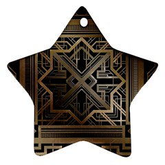 Gold Metallic And Black Art Deco Ornament (star) by 8fugoso