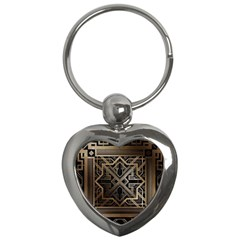 Gold Metallic And Black Art Deco Key Chains (heart)  by 8fugoso