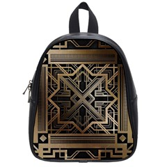Gold Metallic And Black Art Deco School Bag (small) by 8fugoso