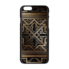 Gold Metallic And Black Art Deco Apple Iphone 6/6s Black Enamel Case by 8fugoso