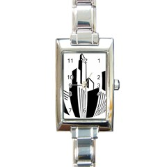 Tower City Town Building Black White Rectangle Italian Charm Watch by Jojostore