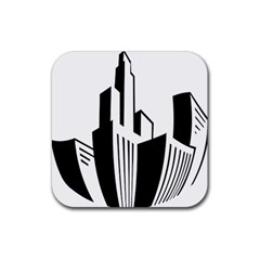Tower City Town Building Black White Rubber Coaster (square)