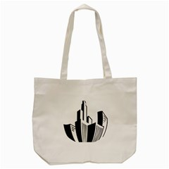 Tower City Town Building Black White Tote Bag (cream) by Jojostore