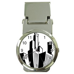 Tower City Town Building Black White Money Clip Watches by Jojostore