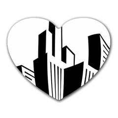 Tower City Town Building Black White Heart Mousepads by Jojostore