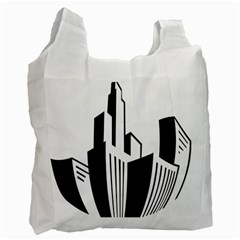 Tower City Town Building Black White Recycle Bag (one Side) by Jojostore