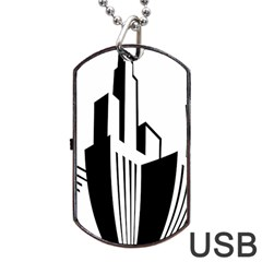 Tower City Town Building Black White Dog Tag Usb Flash (two Sides)