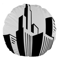 Tower City Town Building Black White Large 18  Premium Round Cushions