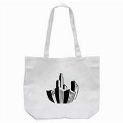 Tower City Town Building Black White Tote Bag (white) by Jojostore