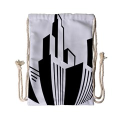 Tower City Town Building Black White Drawstring Bag (small) by Jojostore