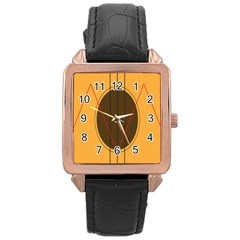 Guitar Picking Tool Line Tone Music Rose Gold Leather Watch  by Jojostore