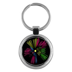 Fireworks Pink Red Yellow Green Black Sky Happy New Year Key Chains (round)  by Jojostore
