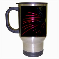 Fireworks Pink Red Yellow Green Black Sky Happy New Year Travel Mug (silver Gray)