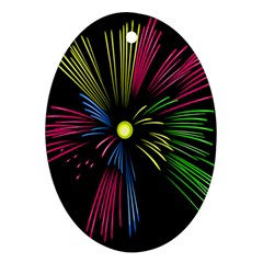 Fireworks Pink Red Yellow Green Black Sky Happy New Year Oval Ornament (two Sides) by Jojostore
