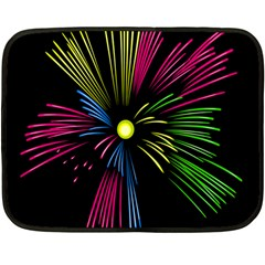 Fireworks Pink Red Yellow Green Black Sky Happy New Year Double Sided Fleece Blanket (mini)
