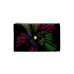 Fireworks Pink Red Yellow Green Black Sky Happy New Year Cosmetic Bag (small)  by Jojostore