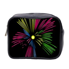 Fireworks Pink Red Yellow Green Black Sky Happy New Year Mini Toiletries Bag 2 Side by Jojostore