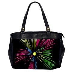Fireworks Pink Red Yellow Green Black Sky Happy New Year Office Handbags (2 Sides)  by Jojostore