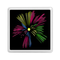 Fireworks Pink Red Yellow Green Black Sky Happy New Year Memory Card Reader (square)  by Jojostore