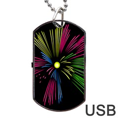 Fireworks Pink Red Yellow Green Black Sky Happy New Year Dog Tag Usb Flash (two Sides) by Jojostore