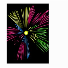 Fireworks Pink Red Yellow Green Black Sky Happy New Year Large Garden Flag (two Sides) by Jojostore