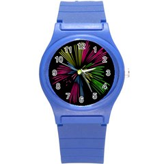 Fireworks Pink Red Yellow Green Black Sky Happy New Year Round Plastic Sport Watch (s) by Jojostore