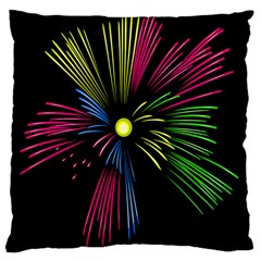 Fireworks Pink Red Yellow Green Black Sky Happy New Year Large Cushion Case (two Sides) by Jojostore