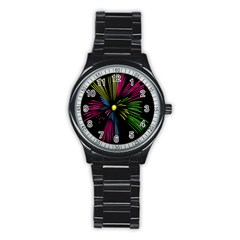 Fireworks Pink Red Yellow Green Black Sky Happy New Year Stainless Steel Round Watch