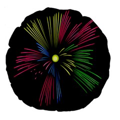 Fireworks Pink Red Yellow Green Black Sky Happy New Year Large 18  Premium Flano Round Cushions by Jojostore
