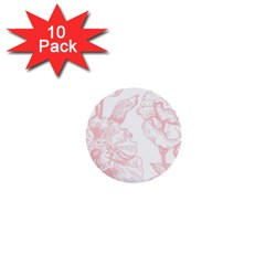 Vintage Pink Floral 1  Mini Buttons (10 Pack)  by 8fugoso
