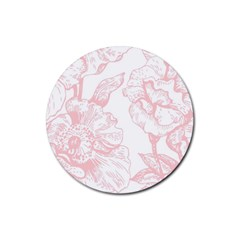 Vintage Pink Floral Rubber Coaster (round)  by 8fugoso