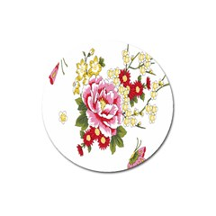 Butterfly Flowers Rose Magnet 3  (round) by Jojostore