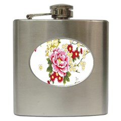 Butterfly Flowers Rose Hip Flask (6 Oz) by Jojostore