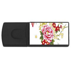 Butterfly Flowers Rose Rectangular Usb Flash Drive by Jojostore
