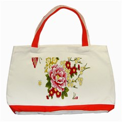 Butterfly Flowers Rose Classic Tote Bag (red) by Jojostore